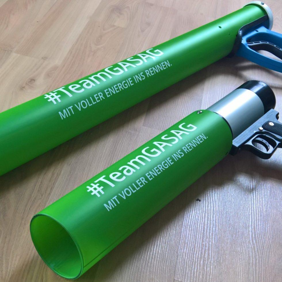 team gasag t-shirt kanonen mit logo branding custom design grün