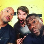 dwayne the rock johnson und kevin hart bei der social movie night mit unseren t-shirt kanonen in berlin
