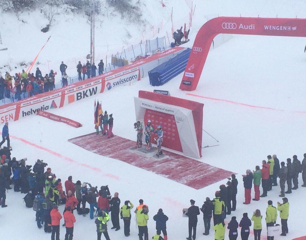 Lauberhornabfahrt slalom sieger wengen 2017 zieleinlauf