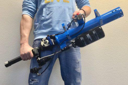 T-Shirt Kanone und Gun Bazooka ohne nachladen in blau für Promotion